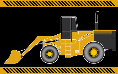 construction equipment: Loader excavator construction machinery equipment isolated