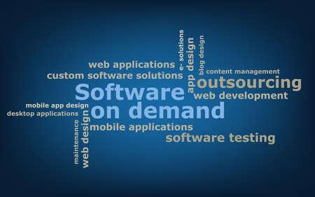 in demand: keyword  Software on demand wordcloud, vector