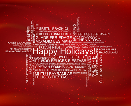 Happy holidays in different languages, celebration word tag cloud greeting card, vector art Illustration