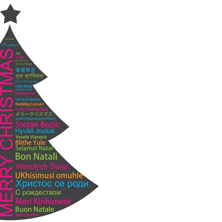 merry christmas in different languages in the shape of christmas three celebration word tag cloud