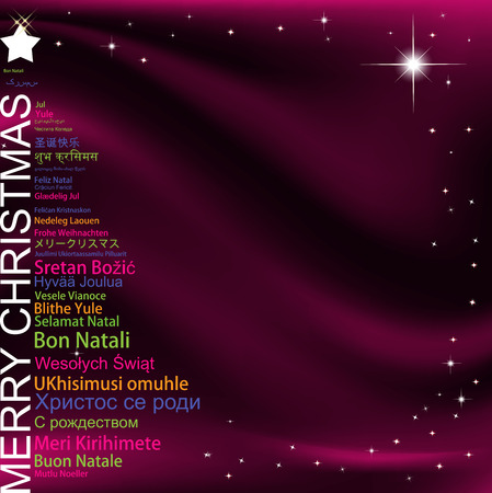 Merry Christmas in different languages in the shape of Christmas three, celebration word tag cloud greeting card