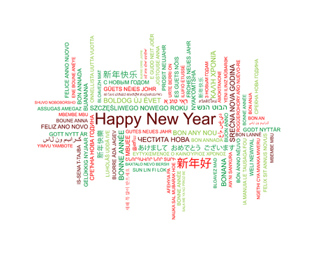 Happy New Year in different languages, celebration word tag cloud greeting card, vector art