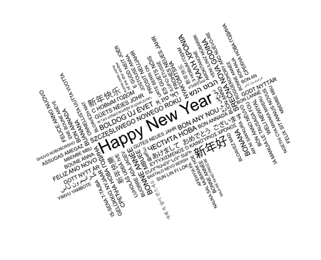 Happy New Year In Different Languages, Celebration Word Tag Cloud ...