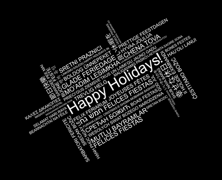 Happy Holidays in different languages, celebration word tag cloud greeting card, vector art