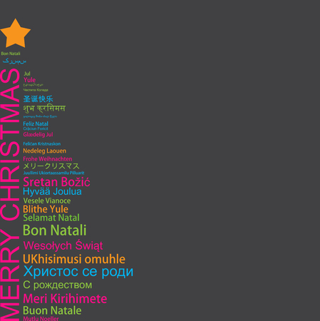 Merry Christmas in different languages in the shape of Christmas three, celebration word tag cloud greeting card 向量圖像