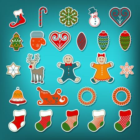 Christmas stickers set Vector illustration.