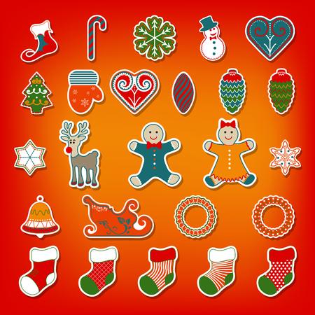 Christmas stickers set  Illustration