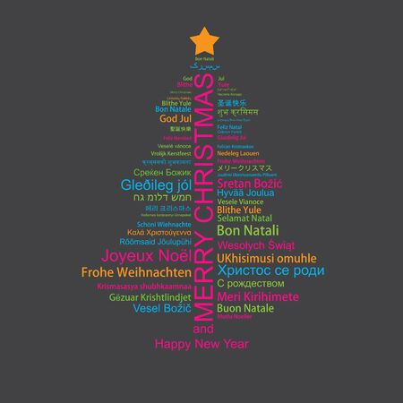 Merry Christmas and Happy New Year in different languages in the shape of Christmas three, celebration word tag cloud greeting card, vector art Vetores