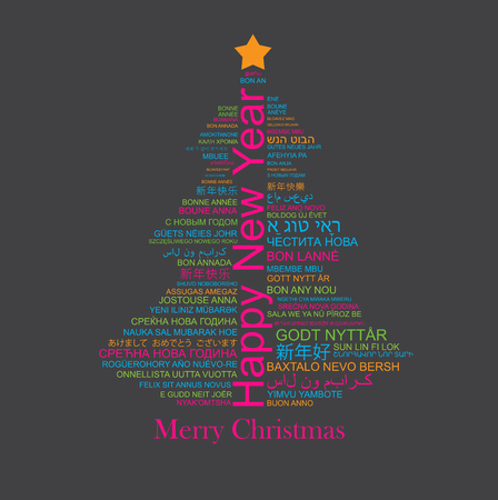 Happy New Year in different languages in the shape of Christmas three, celebration word tag cloud greeting card, vector art