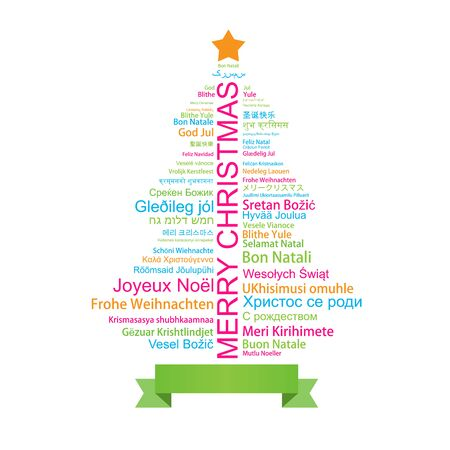 Merry Christmas in different languages in the shape of Christmas three, celebration word tag cloud greeting card, vector art Vetores