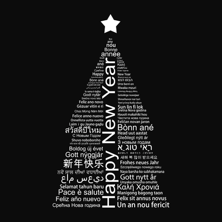 Happy New Year Tag Cloud shaped as a Christmas tree. Illustration