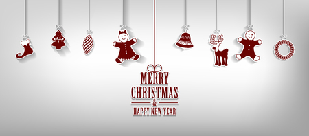 Marry Christmas and Happy New Year greeting card with hanging Christmas elements Vector background.