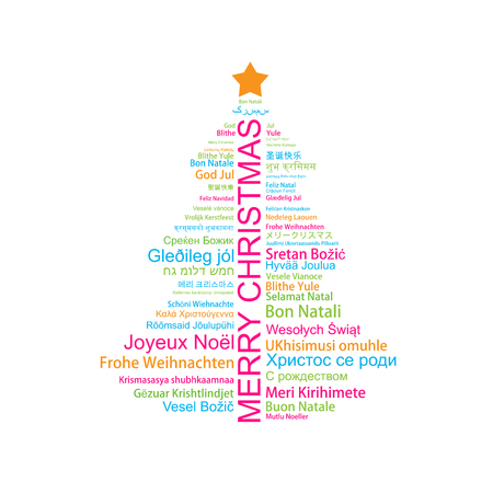 Merry Christmas in different languages in the shape of Christmas three, celebration word tag cloud greeting card.