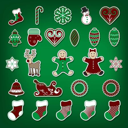 Christmas stickers set. Illustration