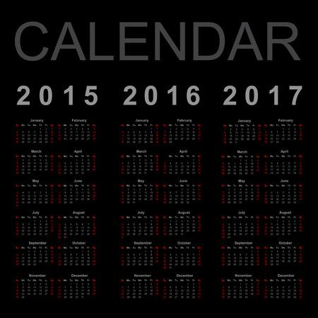 Simple Calendar year 2015, 2016, 2017, vector. Çizim