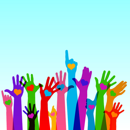 Group of raising hands with hearts, vector Stock Illustratie