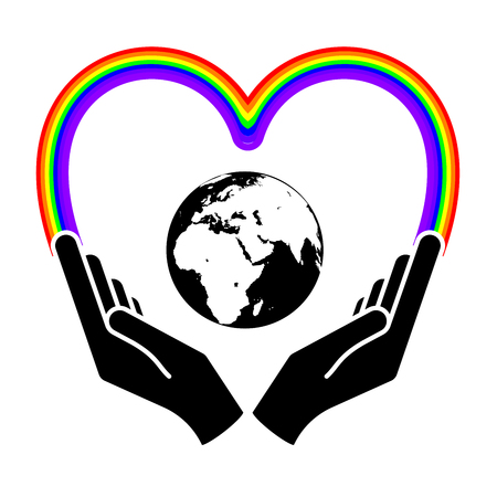 Two hands holding planet earth Environmental icon. Illustration