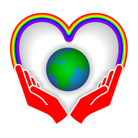 Two hands holding planet earth Environmental icon vector