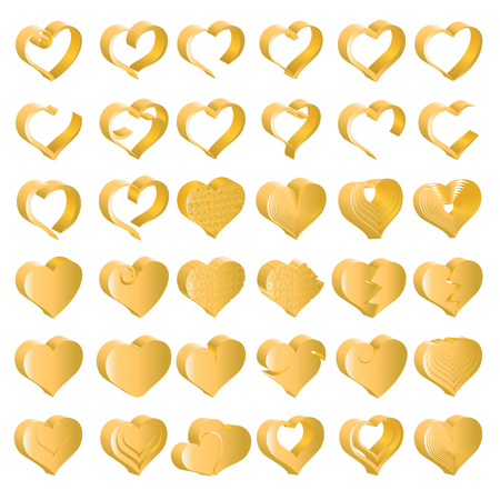 Set of tridimensional symbol hearts, vector Illustration