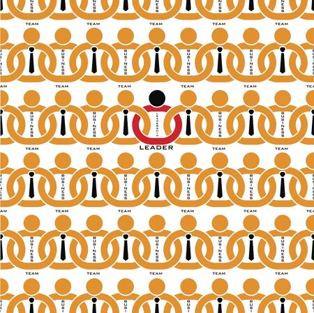 Leadership team business pattern background, Leader team in chain, vector