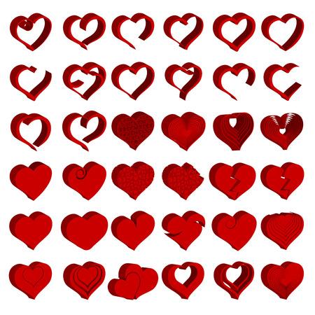 Set of tridimensional heart symbol.