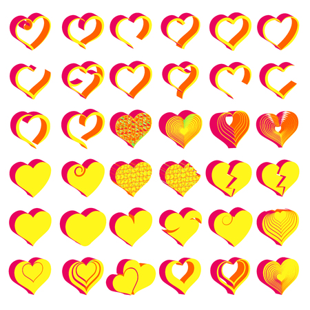 Set of tridimensional symbol hearts, vector Illustration