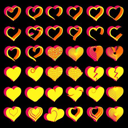 Set of tridimensional symbol hearts, vector Çizim