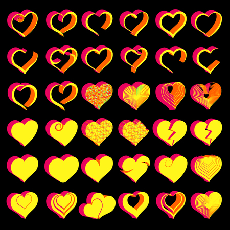 Set of tridimensional symbol hearts, vector Stock Illustratie