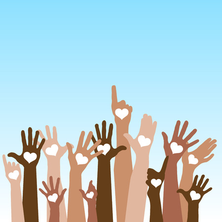 Group of raising hands with hearts, tolerance, vector