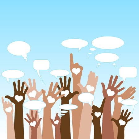 Group of raising hands with bubble chat cloud, tolerance, vector