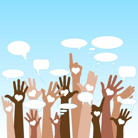 Group of raising hands with bubble chat cloud, tolerance, vector Foto de archivo - 91674558