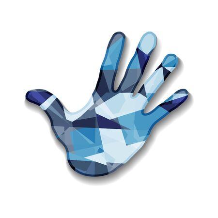 Colorful hand illustration.