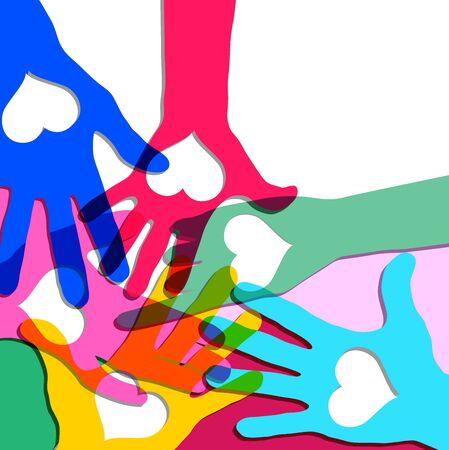 Mãos em círculo com corações. Foto de archivo - 91601037