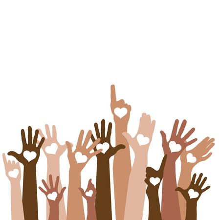 Groep het opheffen van handen met harten, tolerantie, vector