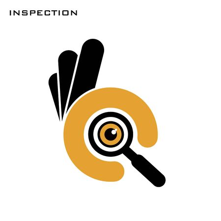 Ok hand symbol with magnifier glass. Okey symbol for inspection searching and looking. Vector