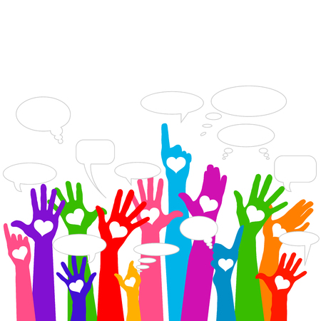 Group of raising hands with bubble chat cloud, vector
