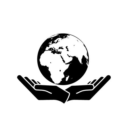 Two hands holding planet earth. Illusztráció