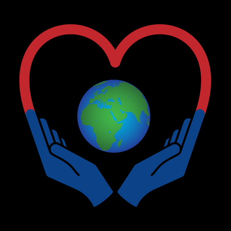 Two hands holding planet earth. Illustration