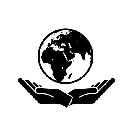 Dwie ręce trzymając planety Ziemia Wektor ikony środowiska
