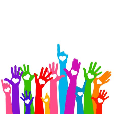 Group of raising hands with hearts Vectores
