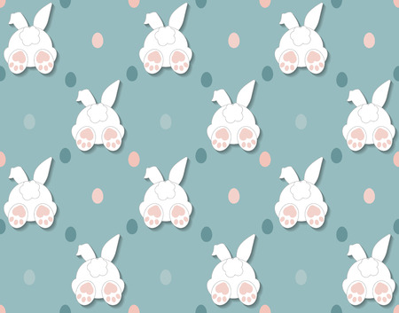 Rabbit pattern texture. Cute vector cartoon background. Bunny foot and tail rabbit children decoration background. Vector 向量圖像