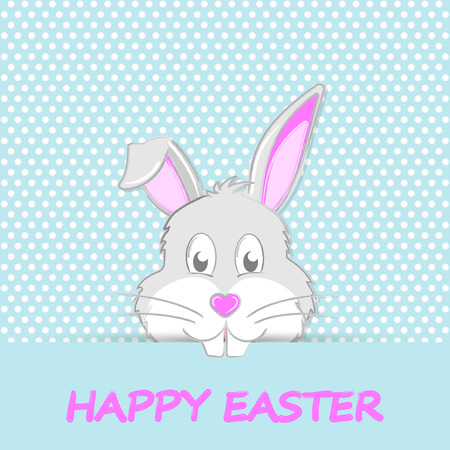 Easter Bunny with teeth and muzzle in the form of heart. Happy Easter greeting card.
