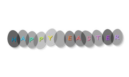 Happy Easter Eggs with text. Easter greeting card. Illustration