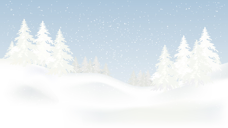 Beautiful panorama winter landscape with snow on the trees in the mountains, vector