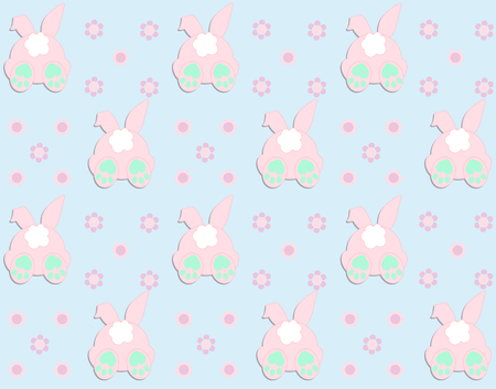 Rabbit pattern texture. Cute vector cartoon background. Bunny foot and tail rabbit children decoration background. Vector Illustration