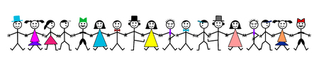Hand drawing smiling happy people holding hands. Human friendship concept. Male and Female group vector