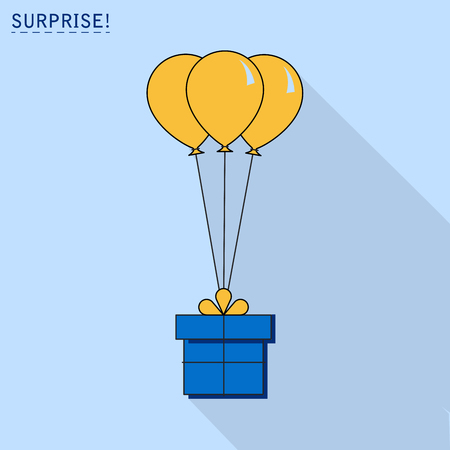 Gift box with balloon icon or greeting holiday card. Flat design. Vector background 向量圖像