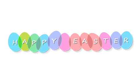 Happy Easter Eggs with text. Easter greeting card. 向量圖像