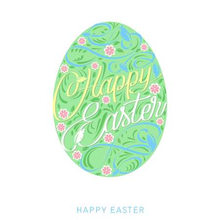 Happy Easter Egg with text. Easter greeting card.