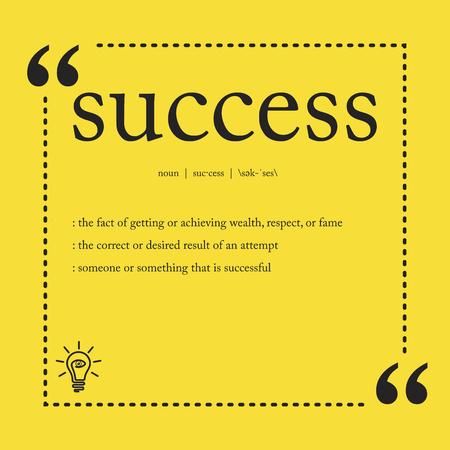 Definición de éxito Ilustración de vector